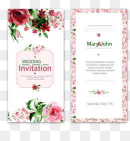Wedding Invitation, Paper, Watercolor Painting, Pink, Flora PNG image with transparent background
