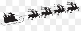 Rudolph, Santa Claus, Reindeer, Chariot, Silhouette PNG image with transparent background