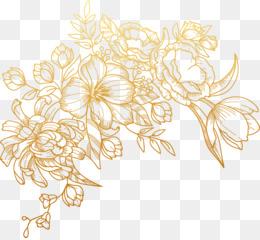 Flower, Golden Flowers, Download, Line Art, Flora PNG image with transparent background