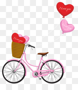 Valentine S Day, Bicycle, Heart, Pink, Bicycle Accessory PNG image with transparent background