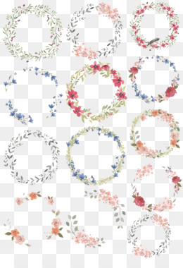 Watercolour Flowers, Watercolor Painting, Wreath, Square, Symmetry PNG image with transparent background