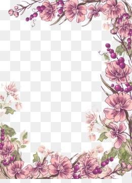 Transparent Background Pink Flower Border Png