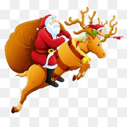 Santa Claus, Reindeer, Deer, Christmas Ornament, Art PNG image with transparent background
