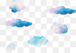 Cloud, Watercolor Painting, Vecteur, Blue, Sky PNG image with transparent background
