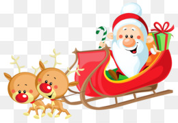 Santa Claus, Reindeer, Sled, Christmas Ornament, Art PNG image with transparent background