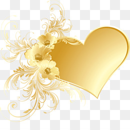 Gold, Flower, Yellow, Heart PNG image with transparent background