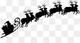 Santa Claus, Reindeer, Sled, Cattle Like Mammal, Silhouette PNG image with transparent background
