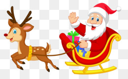 Rudolph, Santa Claus, Sled, Christmas Ornament, Art PNG image with transparent background