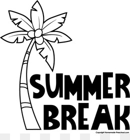 Summer Vacation Black And White Clip Art