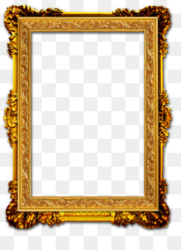 Picture Frame, Gold Frame, Gold, Square PNG image with transparent background