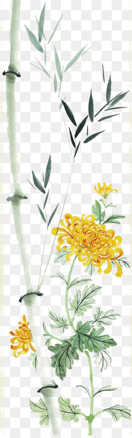 Chrysanthemum, Bamboo, Chinese Painting, Art, Grass Family PNG image with transparent background