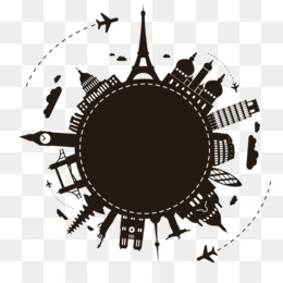 Package Tour, Travel, Travel Agent, Circle, Black And White PNG image with transparent background