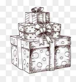 Christmas, Gift, Vecteur, Black And White PNG image with transparent background