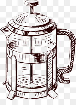 Coffee Cafe French Press Drawing