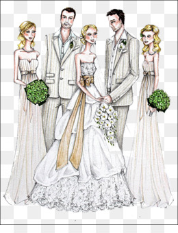 Wedding, Bride, Bridegroom, Gown, Fashion Illustration PNG image with transparent background