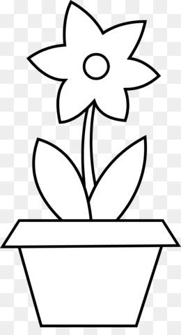 Flowerpot Flower Black And White Line Art Plant PNG image with transparent  sc 1 st  KissPNG & Free download Flower Pot Outline png.