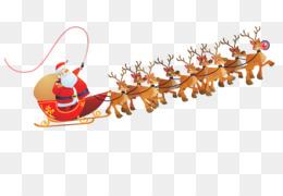 Santa Claus, Reindeer, Sled, Christmas Ornament, Deer PNG image with transparent background