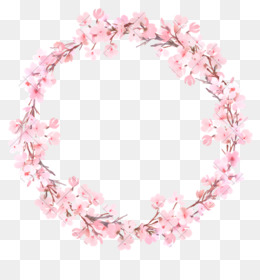 Watercolor Painting, Wreath, Flower, Pink PNG image with transparent background