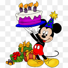 Mickey Mouse Birthday Cake Greeting Note Cards Clip Art