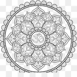 Mandala Coloring Book Om Symbol