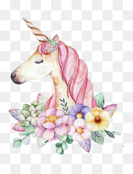Unicorn, Art, Watercolor Painting, Flower PNG image with transparent background