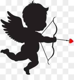 Cupid, Heart, Silhouette, Fictional Character PNG image with transparent background
