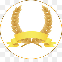 Wreath, Laurel Wreath, Ribbon, Yellow, Material PNG image with transparent background
