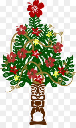 free download christmas tree christmas ornament floral design cut flowers tiki hawaii png