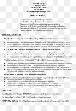 Free download Résumé Business Analyst Job description Job