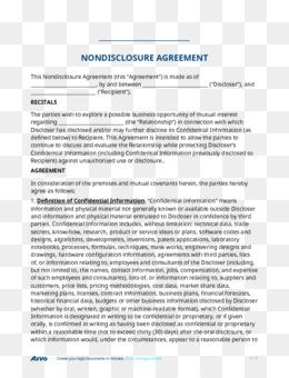 Non Disclosure Agreement Non Compete Clause Contract