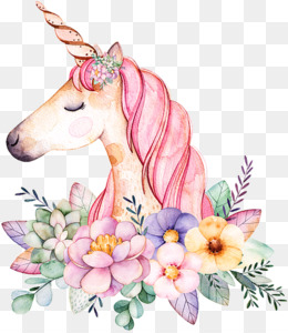 Floral Design, Watercolor Painting, Unicorn, Flower, Flowering Plant PNG image with transparent background