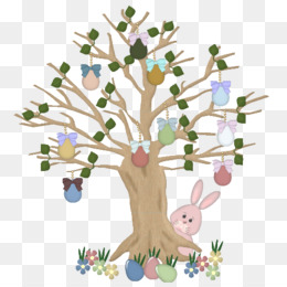 Easter Bunny, Hare, Rabbit, Tree, Flower PNG image with transparent background
