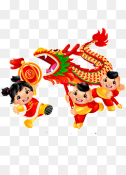 Dragon Dance, Lion Dance, Chinese New Year, Cartoon, Animation PNG image with transparent background