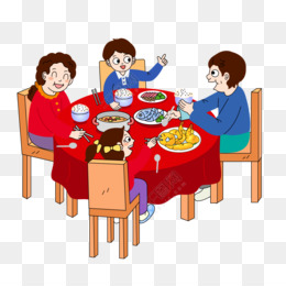 Chinese New Year, Reunion Dinner, Cartoon, Table, Meal PNG image with transparent background