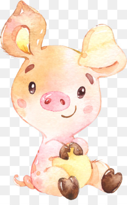 Pig, Domestic Pig, Watercolor Painting, Pink, Cartoon PNG image with transparent background